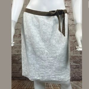 Trina Turk Skirt 6 White Lace Brown Ribbon Bow